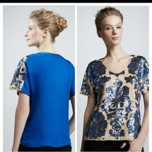 NWT Tracy Reese blue sequined plus size top XL